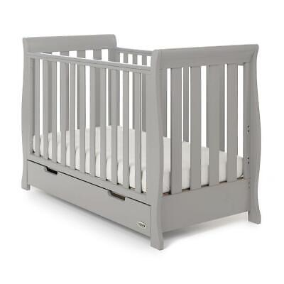 Obaby Stamford Mini Cot Bed & Drawer (Warm Grey) - Suitable From Birth