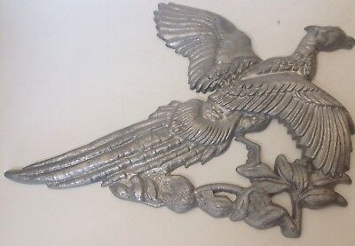 Vintage Cast Iron Flying Pheasant Wall Plaque Silver 13""
