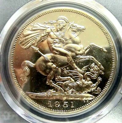 Great Britain 1951 George V PCGS PL64 Secure One Crown Choice Prooflike Scarce