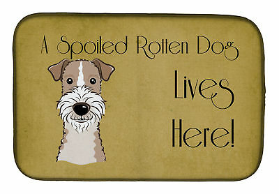 Wire Haired Fox Terrier Spoiled Dog Lives Here Dish Drying Mat