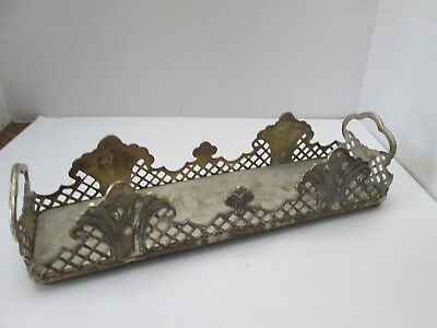Large Vintage Solid Brass Footed Vanity or Bathroom Tray w Handles India 2397