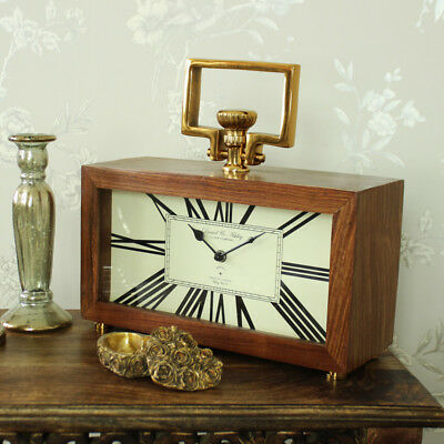 Large wood brass antique style mantel table clock shabby vintage chic office