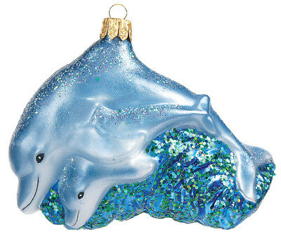 Dolphin Mother with Calf Polish Mouth Blown Glass Christmas Ornament Decoration