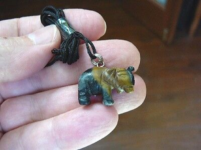(an-ele-10) ELEPHANT Gray tan MARBLE carving Pendant NECKLACE FIGURINE gemstonea