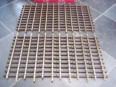 12 LGB 10000 G SCALE MODEL RAILWAY 300mm BRASS TRACK STRAIGHTS - BOXED