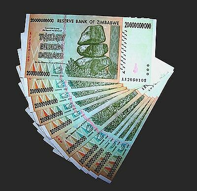 10 x Zimbabwe 20 Billion Dollar banknotes-paper money currency-2008/AA or AB