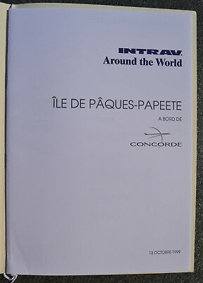 avion CONCORDE Menu INTRAV Ile de Pâques à Papeete 13/10/1999  - Air France