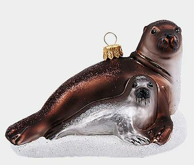 Gray Seal Ocean Life Animal Polish Mouth Blown Glass Christmas Ornament
