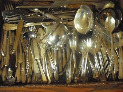150 Pc Mixed Lot Silverplate/Antique Flatware/Serving   #186