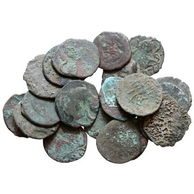 Lot of 20 SHAHIS SPALAPATI INDIA MEDIEVAL COINS 800-1000 AD , UNCLEANED