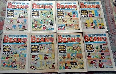 JOB LOT 8 x VINTAGE MARCH -  JULY AUGUST 1977   'BEANO' BRITISH COMICS