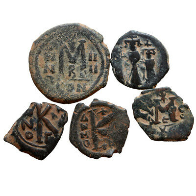 Lot Of 5 Byzantine Bronze Coins-Uncertain Coins