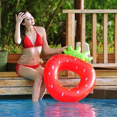 Inflatable Strawberry Lilo Air Lounger Mat Bed Swimming Pool Beach Float Summer