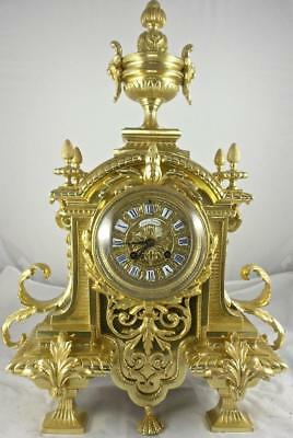 Superb Rare Antique 19th c French Solid Gilt  Brass Mantel clock by Japy Freres