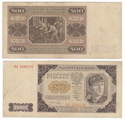 5oo Zlots Polish banknote issued in 1948 BA vf