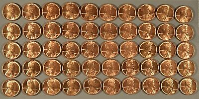1953 Uncirculated Full Roll Lincoln Cents - (50) Coins, Rj15