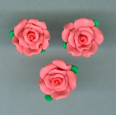 50 Two Tone Coral  ROSE 12 mm Flower Beads  CSFX
