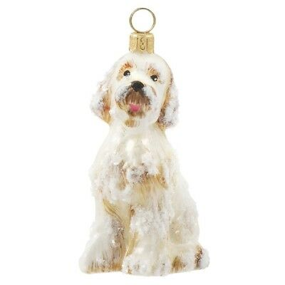 Snow Covered Goldendoodle Dog Polish Glass Christmas Ornament Decoration New