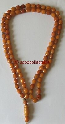 GENUINE antique EGG YOLK BUTTERSCOTCH AMBER BEAD ISLAM PRAYER NECKLACE 65g 110cm