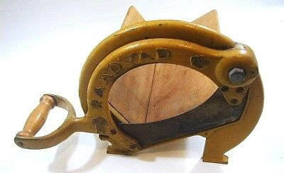 Antique Bread Slicer Raadvad Cheese Meat Cutter Yellow Cast Iron Denmark No 294