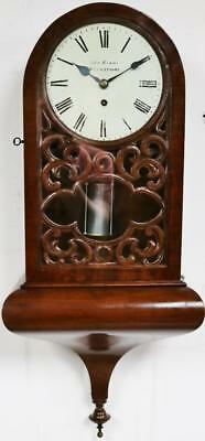 Rare Antique C1860 Welsh Mahogany Single Fusee Regulator Station Wall Clock
