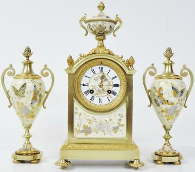 Rare Antique French Bronze Ormolu & Glass Bead Sevres Porcelain Mantle Clock Set