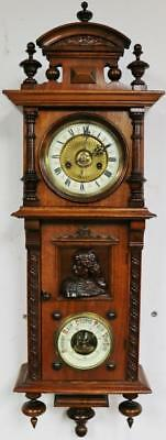 Antique HAC Carved Walnut 8Day Combination Vienna Regulator Wall Clock Barometer