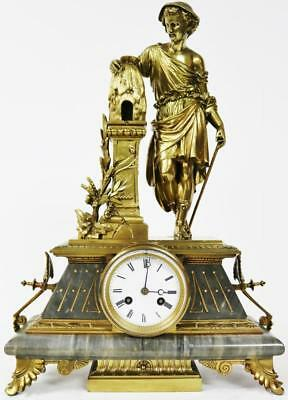 Antique 8 Day French Grey Marble & Bronze Ormolu Bee Keeper Figural Mantle Clock