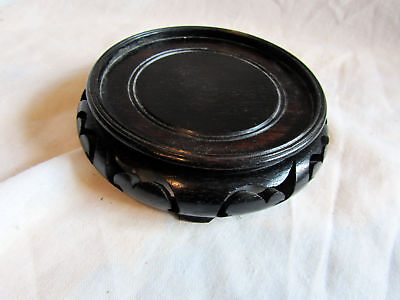 A Vintage Chinese Wooden Vase Stand 11.5Cm Diameter