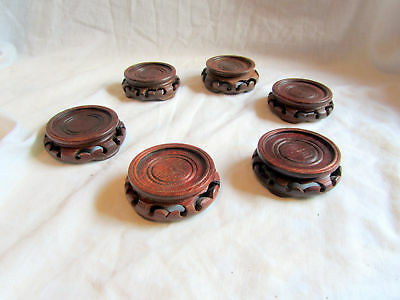 6 Vintage Chinese Wooden Vase Stands