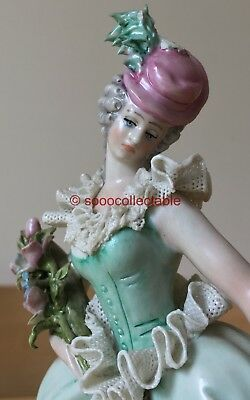 """signed 8"""" CAPPE CAPODIMONTE porcelain DRESDEN LACE YOUNG LADY & FLOWERS FIGURINE"""