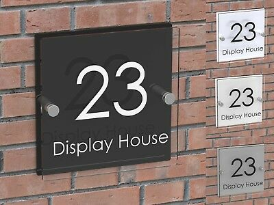 Displaypro House Number Plaque Clear Acrylic Door Sign Name Business Plaques
