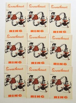 M898. Vintage Lot of 9 SWEETHEART RING Vending Machine Paper Ad Pieces (1960s)~~
