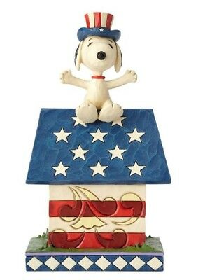 Jim Shore Peanuts Home of the Brave Snoopy Patriotic Dog House Figurine 4059438
