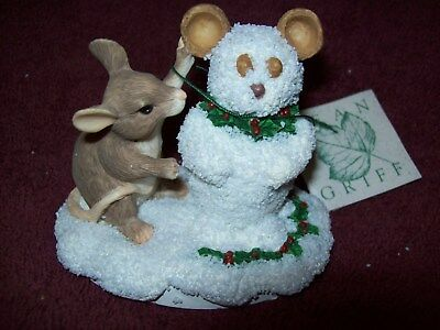 "Charming Tails DEAN GRIFF ""MOUSE SNOWMAN"" Figurine SIGNED 1995 #819/#7500 LTD ED"