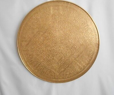 Antique Vintage Benares Type Brass Tray Table / Wall Hanging, No Table Base
