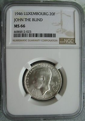 Luxembourg 1946 20 Francs NGC MS-66 John The Blind