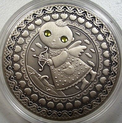 "2009 BELARUS ""SAGITTARIUS"" 20 RUBLES ZODIAC SIGNS SILVER COIN w TWO ZIRCONS NEW"