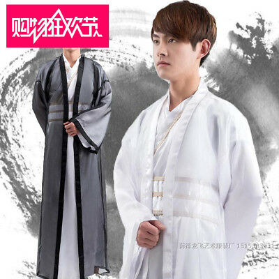 Mens ancient time warrior chivalrous expert costumes Han clothing dresses sz XXL