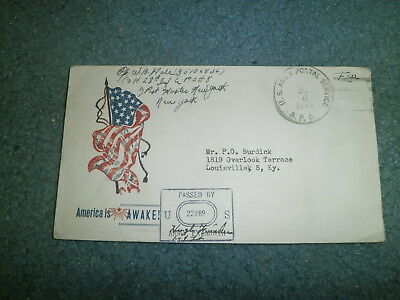 "Wwii Patriotic Cover:  1944 W/censor, Free Frank, ""america Is Awake!"""