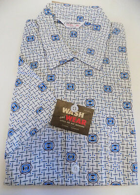 NOS Vintage 50s 60s Blue White Print Short Sleeved Shirt California M 15 15 1/2