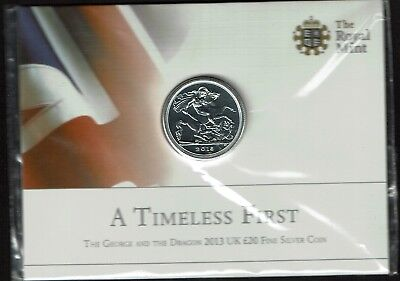 Great Britain 20 Pounds Silver 2013 Gem Bu George & Dragon 1/2 Ounce Sealed
