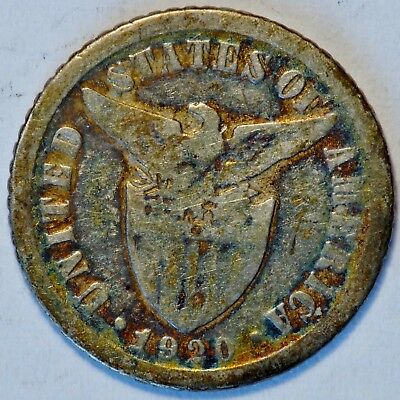 1920 US Philippines 10 Centavos Silver Coin with AWESOME RAINBOW TONING (07635)