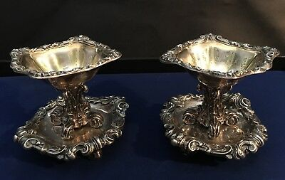 France / French 19Th Century .950 Sterling Silver Pair Of Antique Salts Cellars