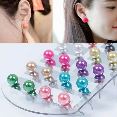 12Pairs New Women Fashion Party Beauty Style Pearl Round Ear Stud Earring Set JT
