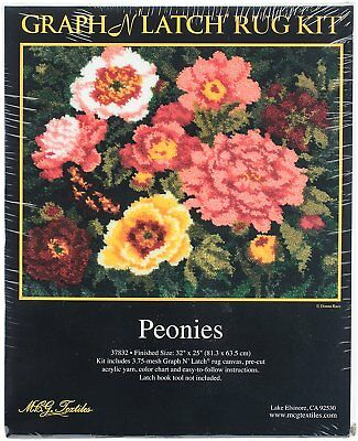 "Peonies Latch Hook Kit 32x25"" By MCG Textiles No Tool Included."