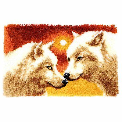 Sunset Wolves latch hook kit rug making kit 69x43cm printed canvas includes tool