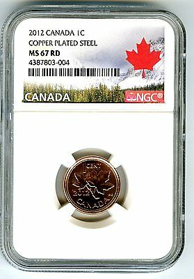 2012 Canada Cent Ngc Ms67 Magnetic Steel High Grade Last Year Canada Label Rare!