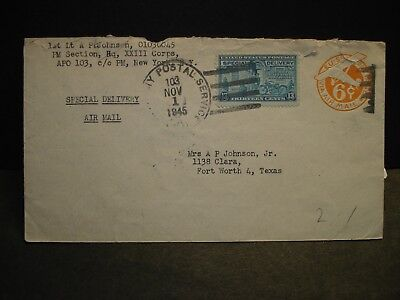 APO 103 BAD WILDUNGEN, GERMANY 1945 Special Delivery Army Cover XXIII Corps