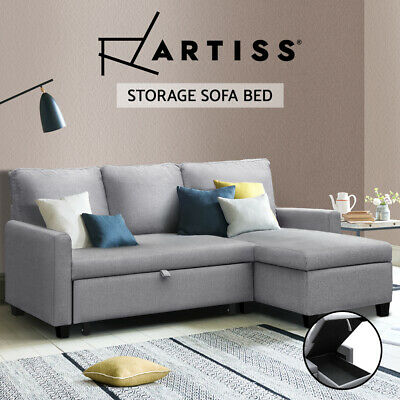 3-Seater Sofa Bed with Storage Corner Futon Linen Fabric Lounge Chaise Couch